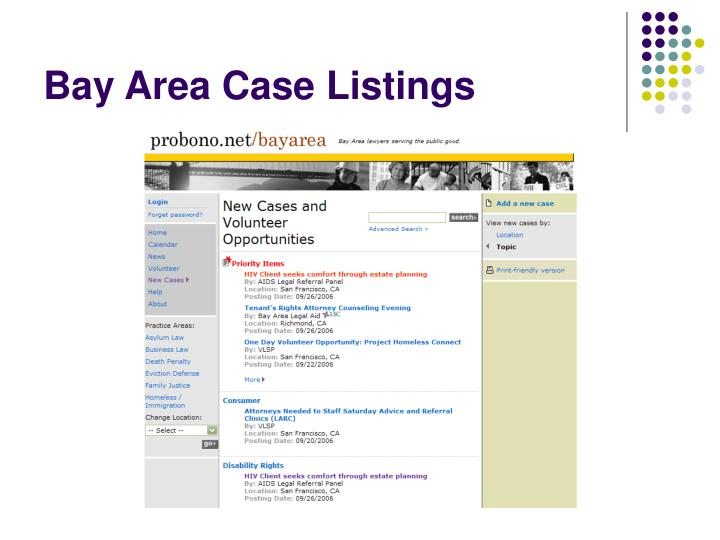 Bay Area Case Listings