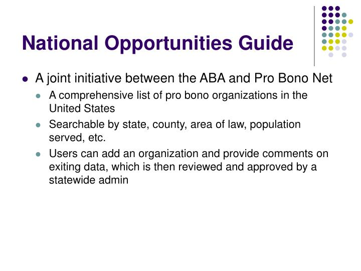 National Opportunities Guide