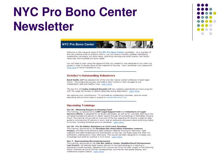 NYC Pro Bono Center Newsletter