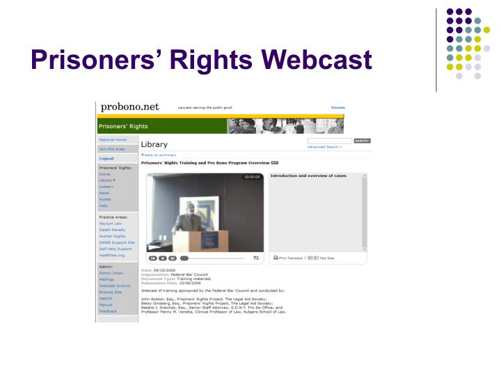 Prisoners' Rights Webcast