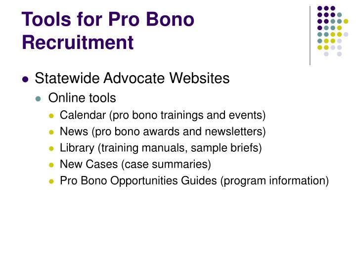 Tools for Pro Bono Recruitment