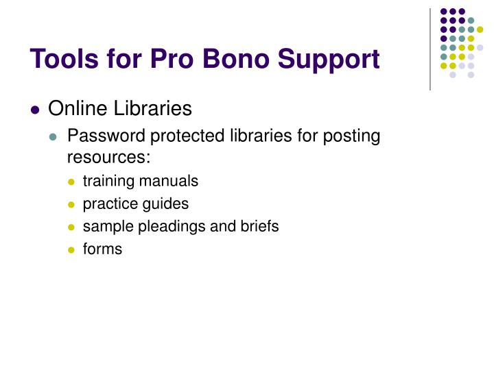 Tools for Pro Bono Support