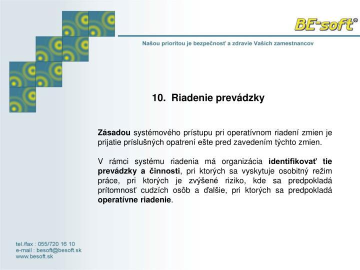 10.Riadenie prevádzky