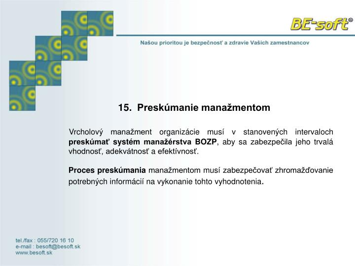 15. Preskúmanie manažmentom