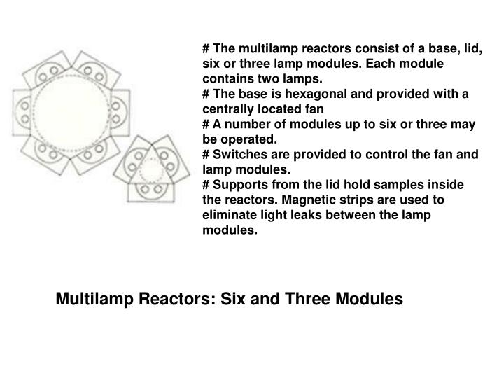 # The multilamp reactors consist of a base, lid, six or three lamp modules. Each module contains two lamps.