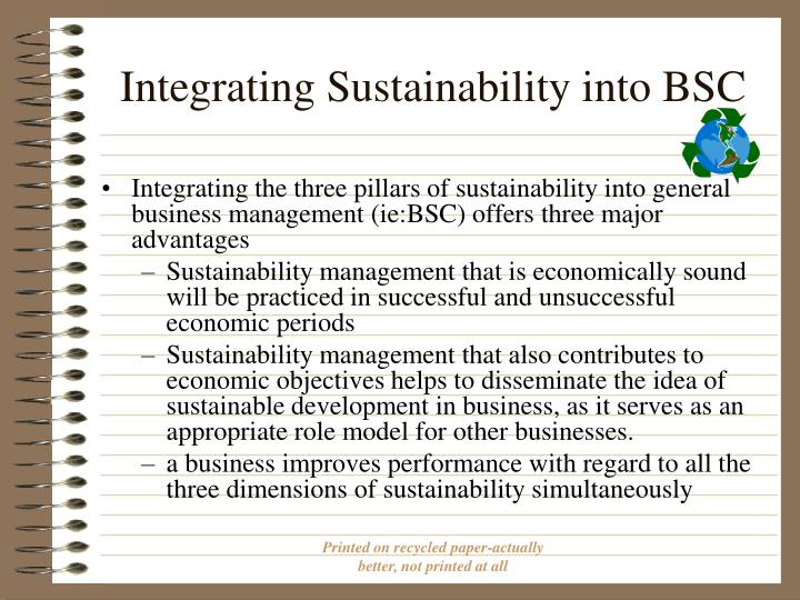 Integrating Sustainability into BSC