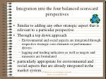 integration into the four balanced scorecard perspectives