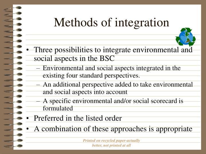 Methods of integration