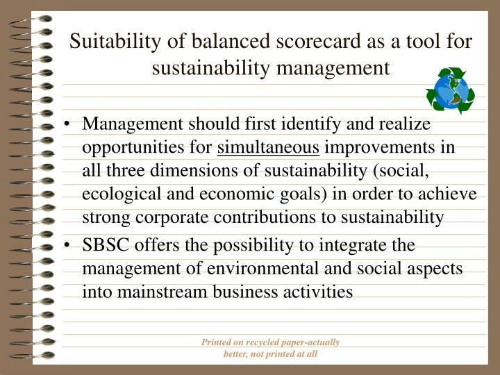 Suitability of balanced scorecard as a tool for