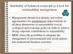 suitability of balanced scorecard as a tool for sustainability management