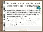 the correlation between environmental social success and economic success