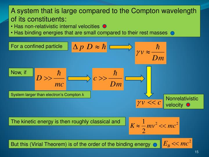 A system that is large compared to the Compton wavelength of its constituents: