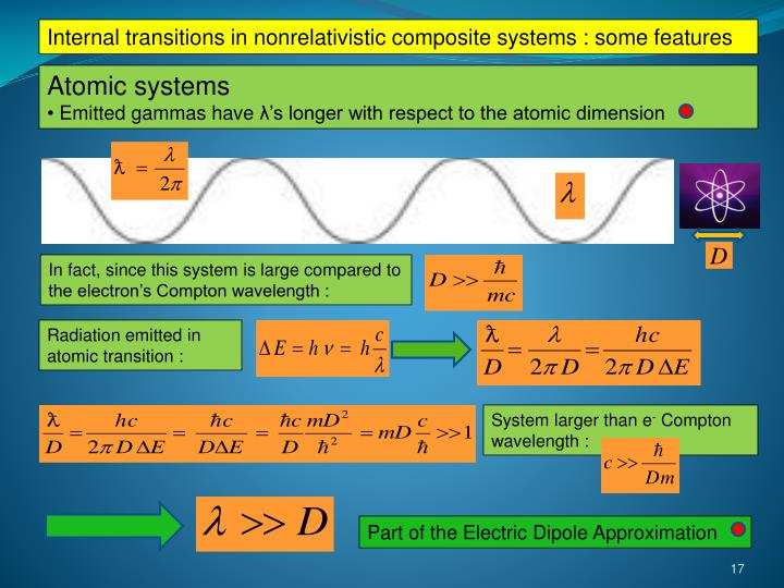 Internal transitions in nonrelativistic composite systems : some features
