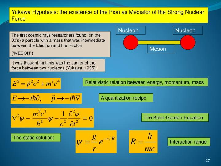 Yukawa Hypotesis: the existence of the Pion as Mediator of the Strong Nuclear Force