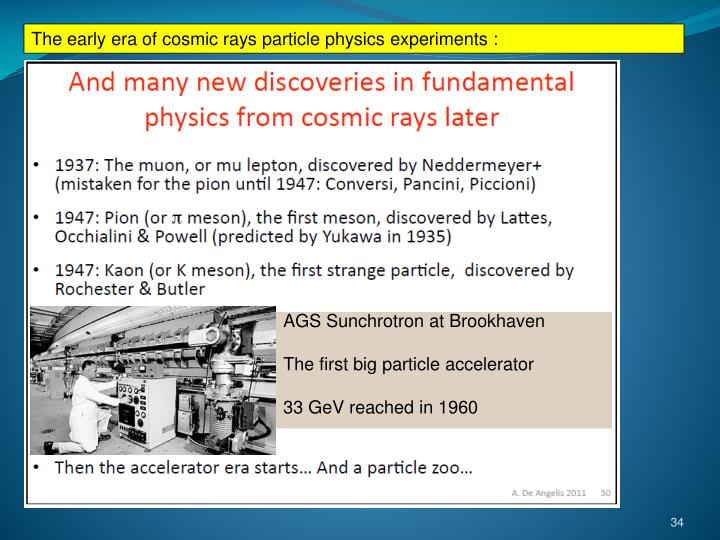 The early era of cosmic rays particle physics experiments :