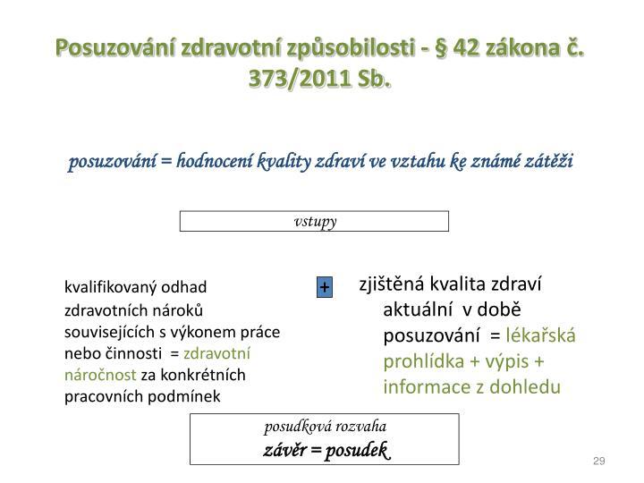 Posuzovn zdravotn zpsobilosti -  42 zkona . 373/2011 Sb.