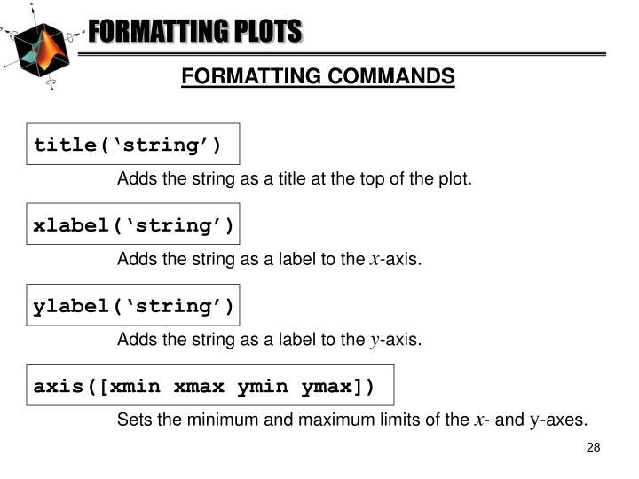 FORMATTING PLOTS