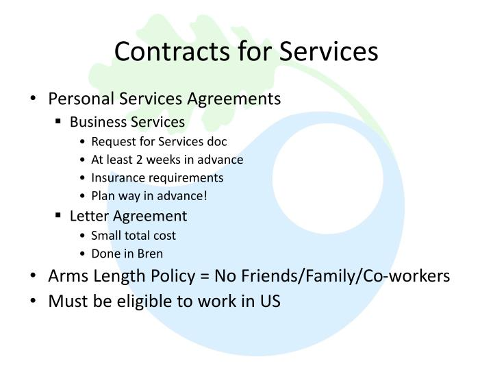 Contracts for Services