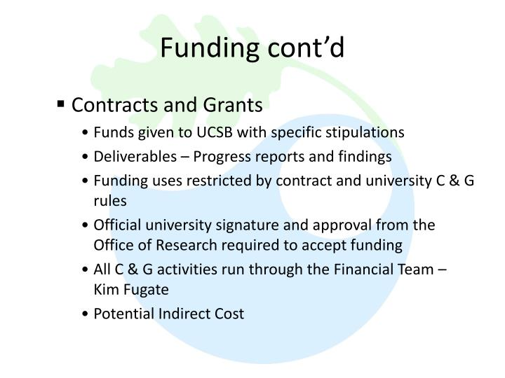 Funding cont'd