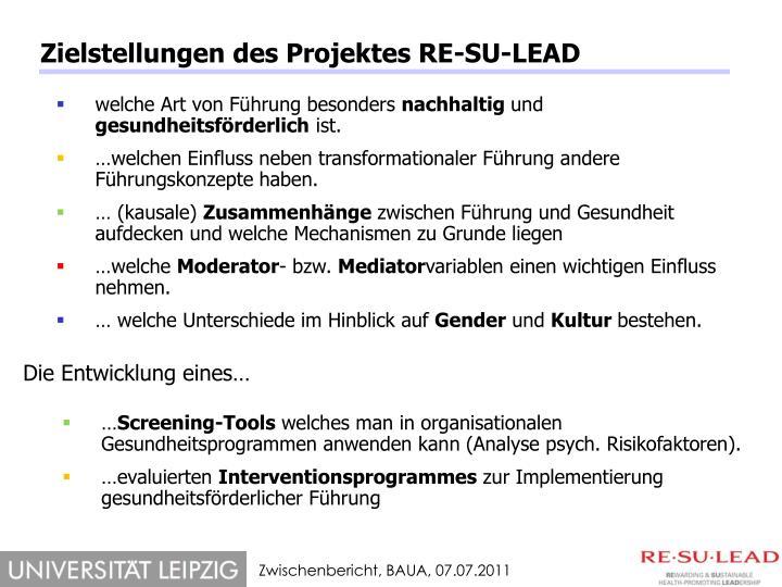 Zielstellungen des Projektes RE-SU-LEAD