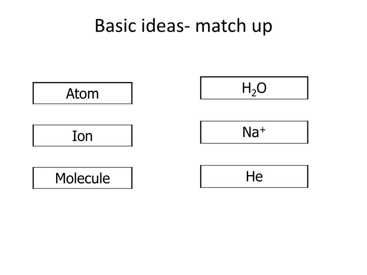 Basic ideas- match up