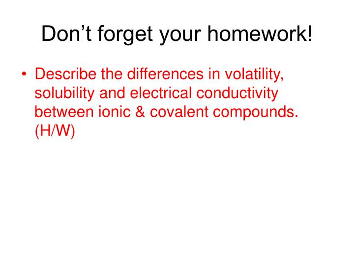 Don't forget your homework!