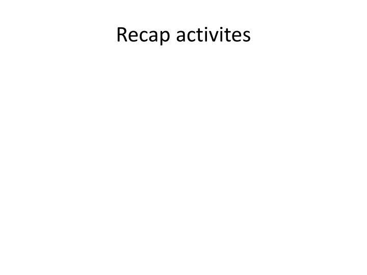 Recap activites