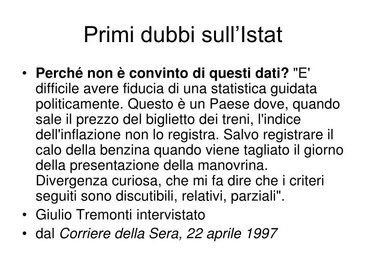 Primi dubbi sull'Istat