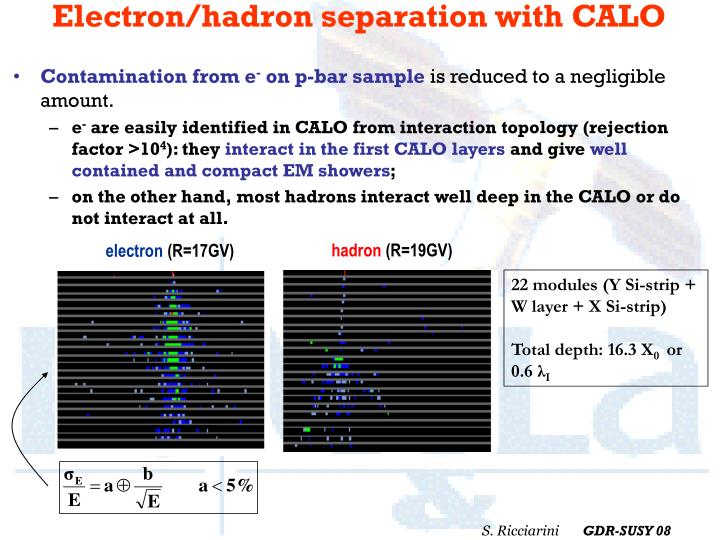 Electron/hadron separation with CALO