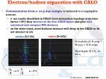 electron hadron separation with calo