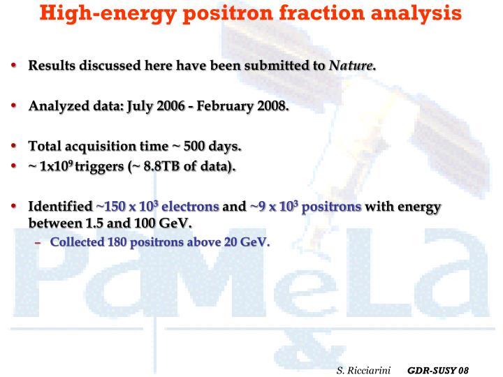 High-energy positron fraction analysis