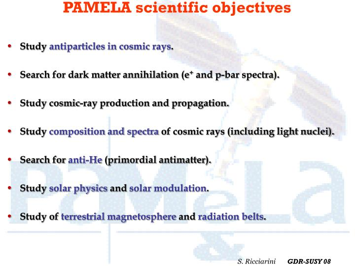 PAMELA scientific objectives