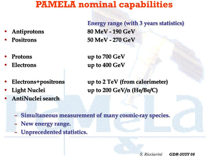 PAMELA nominal capabilities