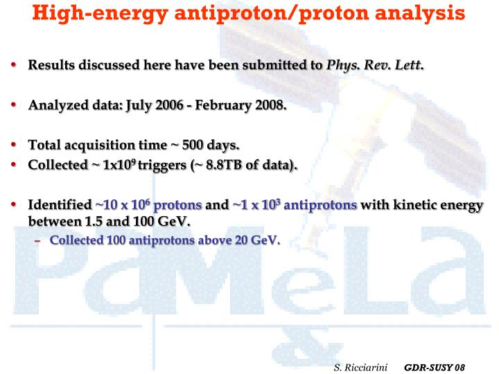 High-energy antiproton/proton analysis