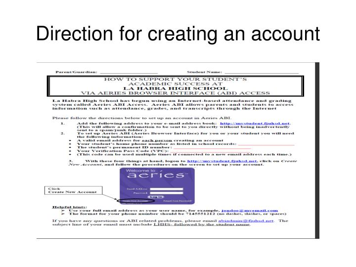 Direction for creating an account