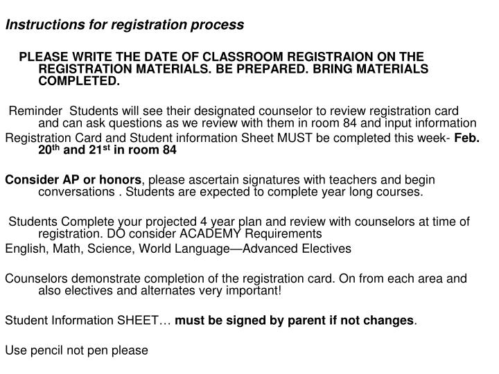 Instructions for registration process