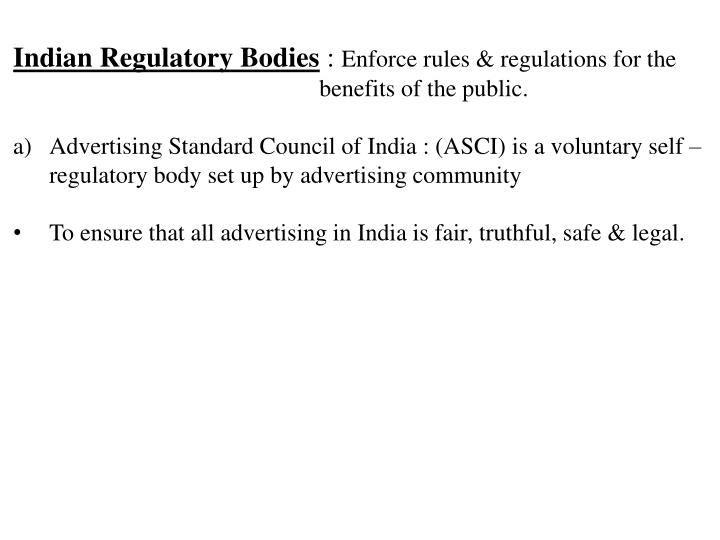 Indian Regulatory Bodies