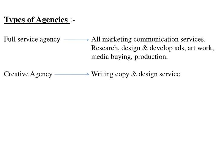 Types of Agencies