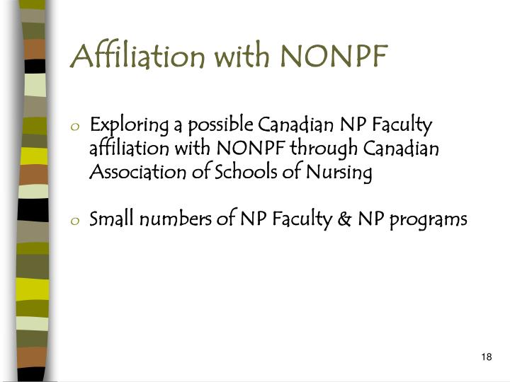 Affiliation with NONPF