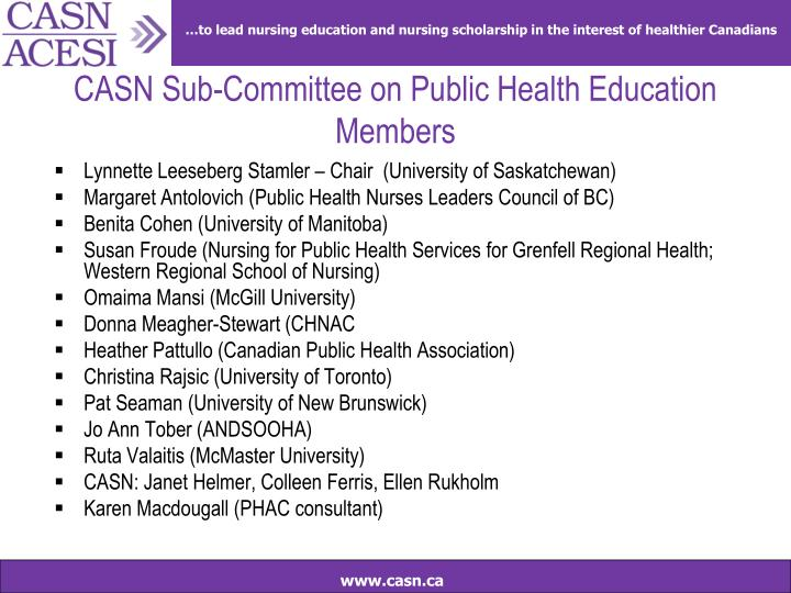 Casn sub committee on public health education members