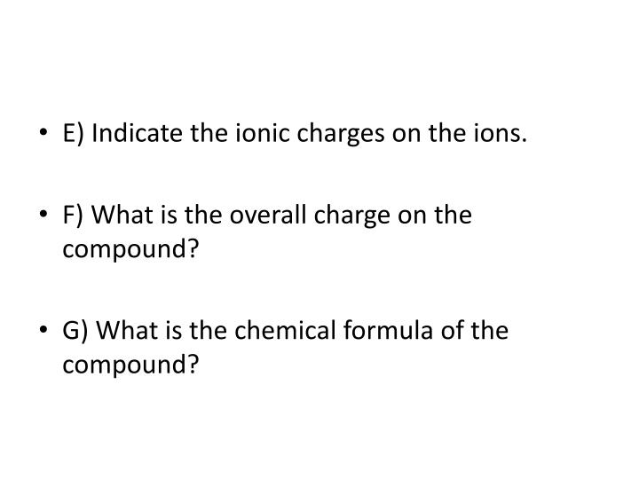 E) Indicate the ionic charges on the ions.