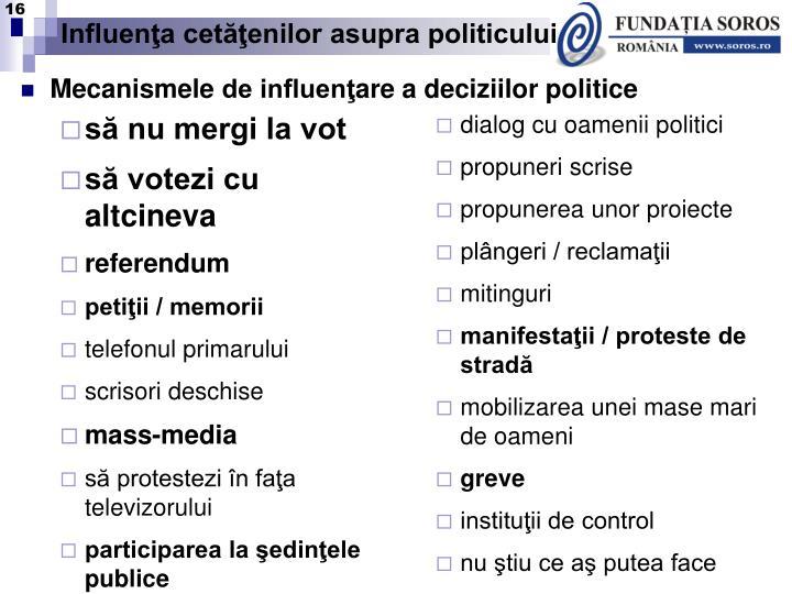 Influenţa cetăţenilor asupra politicului
