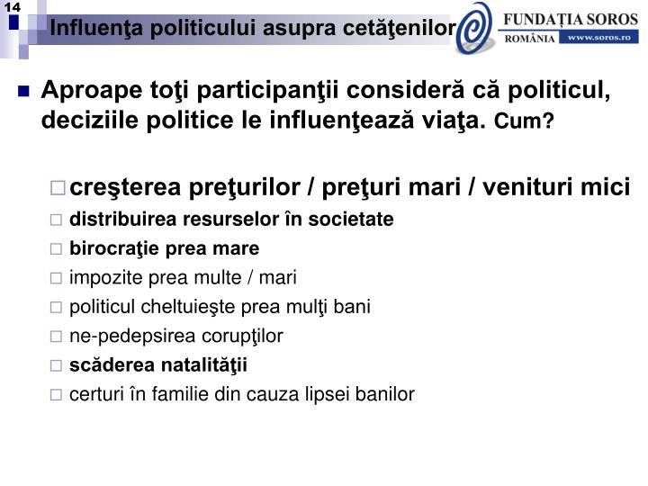 Influenţa politicului