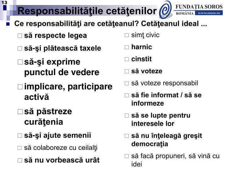 Responsabilităţile cetăţenilor