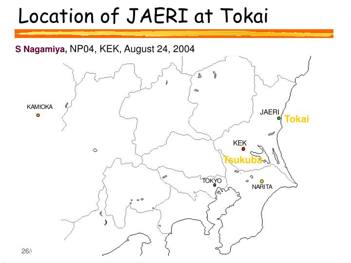 Location of JAERI at Tokai