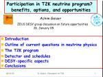 participation in t2k neutrino program benefits options and opportunities