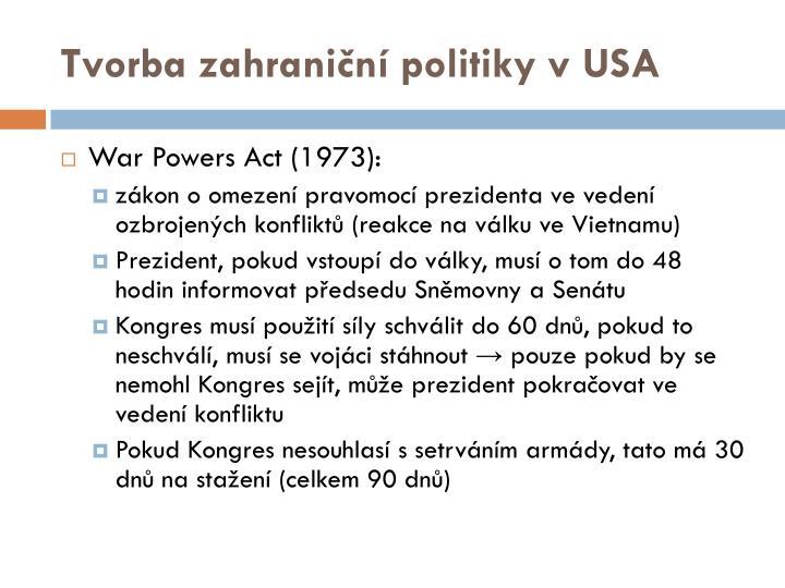 Tvorba zahraniční politiky v USA