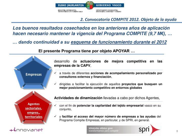 2. Convocatoria COMPITE 2012. Objeto de la ayuda
