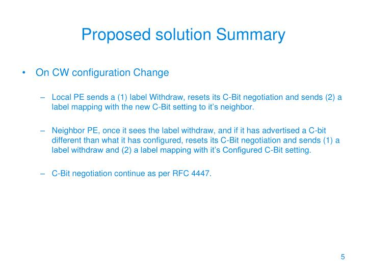 Proposed solution Summary