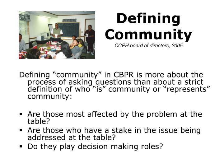Defining Community